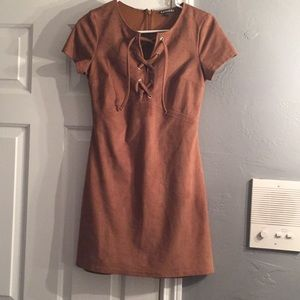 Brown Lace up dress